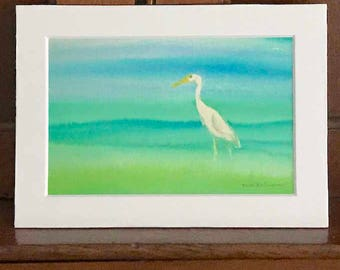 Snowy Egret watercolor giclee print already matted in standard size 5x7 inches, blue and green shades, just lovely beach cottage home decor