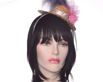 Mini Straw Hat Fascinator with Pink Roses and Gray Feathers