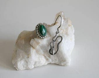 Serpent Malachite Mismatch Earrings