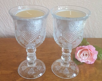 Avon Clear Heart Goblets - Candle Holders - Fostoria 1978 - Oak Hill Vintage