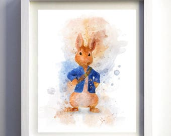 PETER RABBIT cbbc cartoon - Childrens bedroom WATERCOLOUR illustration art - Print-at-Home, easy fast and unique printing gift idea