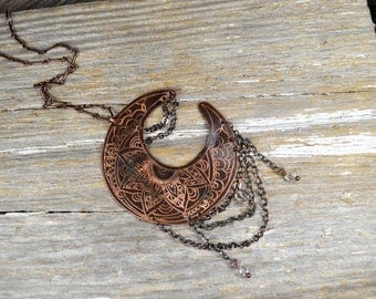 Delicate Luna Moon Necklace, Hand Engraved & Mehndi Inspired Art To Wear Design - ReaganJuel: Reclaimed3