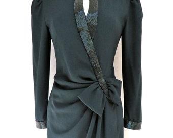 "Vintage 1940's Style Black Beaded Evening Dress Medium/1980's does 1940's Dress/31"" Waist/Medium"