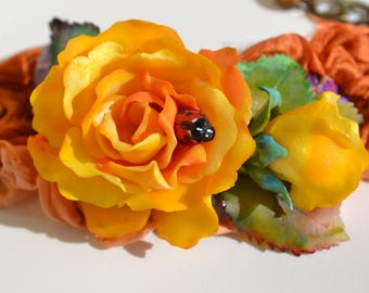 Yellow Roses with Ladybug - Statement Adjustable One of a Kind Bracelet