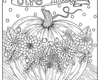 give thanks digital coloring page thanksgiving harvest holiday coloring page color books - Color Books