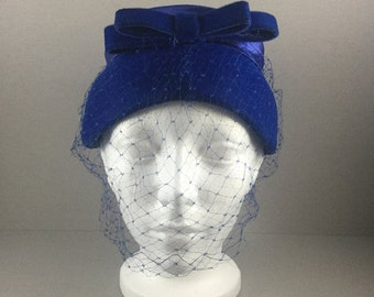 Vintage Pillbox Hat, Vintage Blue Pillbox Hat, Vintage Pillbox Hat, Vintage Pillbox Hat, 50's Ladies Vintage Hat, 60's Ladies Vintage Hats