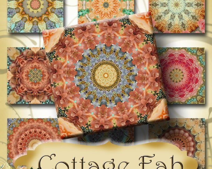 COTTAGE FAB•1x1 Square Images•Printable Digital Images•Cards•Gift Tags•Stickers•Magnets•Digital Collage Sheet