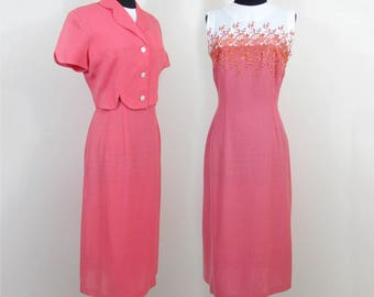 Coral Linen Look Sheath and Jacket by Osgood - Woven Rayon 1950s - Sm