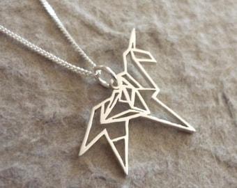 Origami Unicorn Sterling Silver Pendant