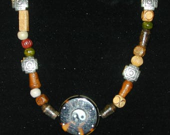 Wood, Resin & Tibetan Silver Yin Yang Necklace