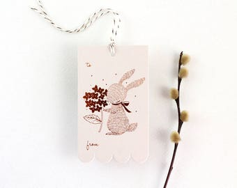 10 Copper Foil Tags - Rabbit & Hydrangea