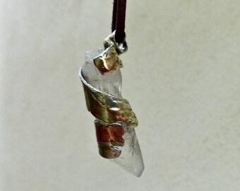 Men's necklace. Fine silver and copper quartz pendant.