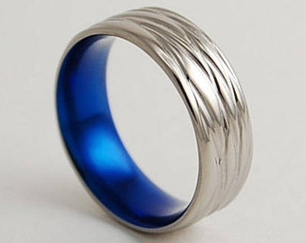 Mens Wedding Band , Titanium Ring , Mens Wedding Ring , Mens Promise Ring , The Sphinx Band in Nightfall Blue