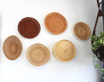Collection of Vintage Baskets for Wall Display, Tan, Brown, Reed, Wicker, Wall Art, Instant Collection, Round Woven Pattern Storage 720021