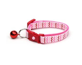 Valentines Day Cat Collar - Red and Pink Chevrons - Kitten or Large Size