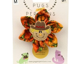Autumn Dog Bow - Happy Scarecrow on Pumpkins - Flower - Collar Blossom - Medium Size
