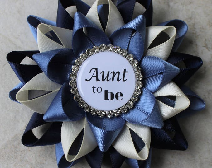 Aunt to Be Pin, New Aunt Gift, Baby Shower Corsage, Grandma to Be, Auntie to Be, Personalized Baby Shower Decorations, Denim, Navy, Ivory
