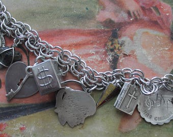Vintage Sterling Charm Bracelet Vintage Sterling South Carolina Charm Bracelet Vintage Bible Charm Vintage Sterling Charms