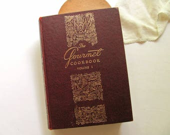 Vintage Gourmet Cookbook Volume I Large Gourmet Magazine Burgundy Gold Kitchen Book Decor Food Photos Recipes Cooking Wedding Shower Gift
