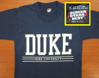 Duke University Blue Devils vintage t-shirt Small navy blue 80s 90s Screen Stars Best