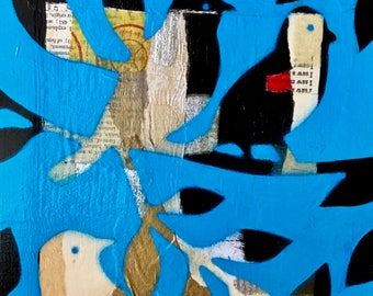 Birds of a Feather Textured Mixed Media Collage Painting 'Blue Skies Day'