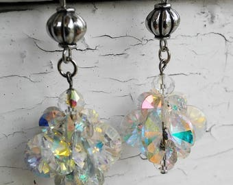 Iridescent AB Crystal Cluster Dangle Earrings Jewelry