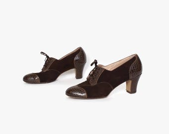 Vintage 40s Oxford Heels / 1940s Dark Brown Suede & Snake Embossed Leather Cap Toe Lace-Up Oxfords 8 1/2 - 9