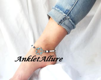 BEACH Anklet Ankle Bracelet STARFISH Anklet CHOKER Avail Aqua Painted Copper Anklets for Women