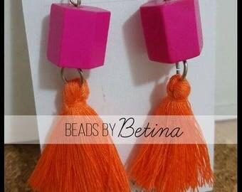 BEE//GEO: Pink & Orange Tassel Earrings