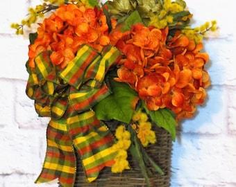 Fall Door Basket, Thanksgiving Decor, Hostess Gift, Fall Wall Basket,  Hydrangea Wreath, Rustic Wreath, Rustic Decor,