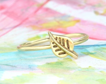Skinny gold leaf stacking ring Nature ring Simple yellow gold stackable dainty leaves ring Minimalist nature inspired Valentine gift for her