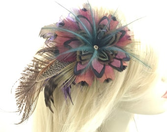 Fantasy flower feather hair clip, Natural and Muted Feather Fascinator, Feather flower hair and hat clip, feather flower barrette