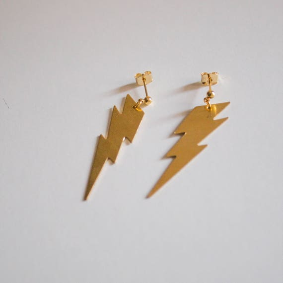 there is thunder in our hearts -earrings (large brass thunder charm minimal every day 16K gold plated ear post)