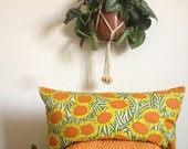 jungalow cushion botanical fabric pillow daisy print pillow jungalow style decor trend 1960s fabric throw pillow