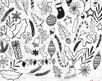 Christmas Clipart - Hand Drawn Christmas Clipart - Vector Doodles Art - Digital Paper - Christmas Clip Art - Baubles Clipart - ACGABW08