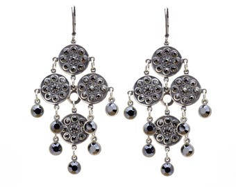 Chandelier Disc Earrings in Antique Silver with Black Hematite Swarovski Crystals