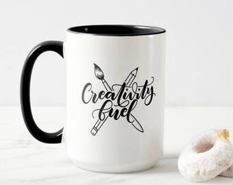 Mug - Creativity fuel - Mug for calligraphers, lettering artist, creative, crafter, artist, painter