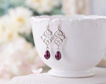 Plum Pearl Earrings, Burgundy Maroon earrings, Silver Celtic Knot Earrings, Plum Wedding Jewelry, Bridal Earrings, Bridesmaid Gift for her