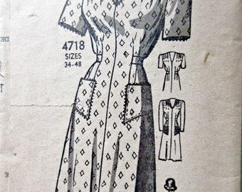 Vintage Anne Adams 4718 Sewing Pattern, 1940s Dress Pattern, Shirred Shoulders, Bust 34, Mail Order Pattern, 1940s Sewing Pattern, Pockets