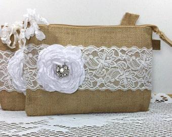 Set of 3 Bridesmaid Clutches, Burlap Lace Wedding Clutches, Bridesmaid Gifts, Rustic Wedding, Bridesmaid Bags, Wedding Party Gifts, Wedding