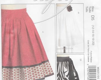 McCall's 5631 Misses' Flared Mid-Knee Skirt Sewing Pattern. Size 12 to 20 Waist 26 1/2 to 34 Hip 36 to 44