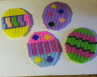 Set of 4 Plastic Canvas Easter Egg Magnets  #691