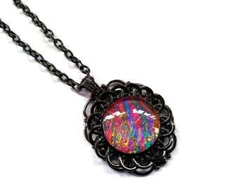 Victorian Necklace, Handmade Glass Opalite, Tye-Dye Ripple Rainbow , Renaissance Necklace