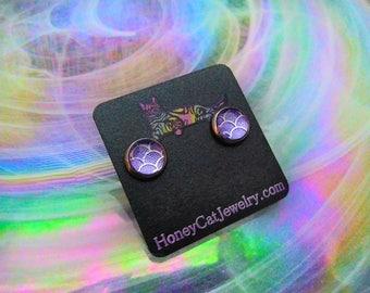"Glass Opalite Earrings, Textured Lavender Mermaid  Glass Opalite Stainless Steel Stud Earrings 10mm / 0.39"""