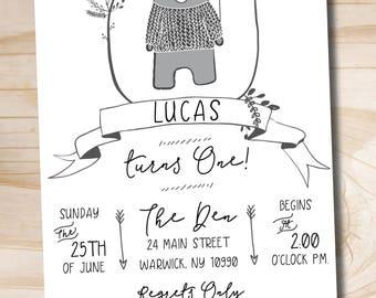 Bear Birthday Invitation - Camping Invitation - Woodland - Little Cub - Flannel - Lumberjack - Custom PDF or Printed Invitation
