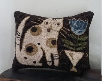primitive needle punch Blue Belle small pin pillow cupboard tuck punch needle embroidery