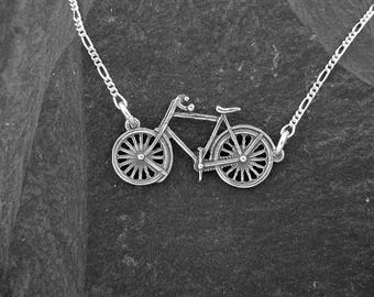 Sterling Silver Bicycle Pendant on a Sterling Silver Chain