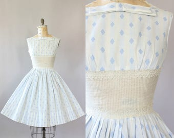 Vintage 50s Dress/ 1950s Cotton Dress/ Blue Diamond Print Cotton Dress w/ Shelf Bust and Pintucking M