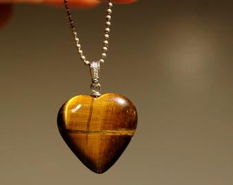 Tiger Eye Natural Stone Heart Pendant