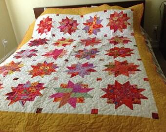 Ribbon star bed quilt, Kaffe fassett